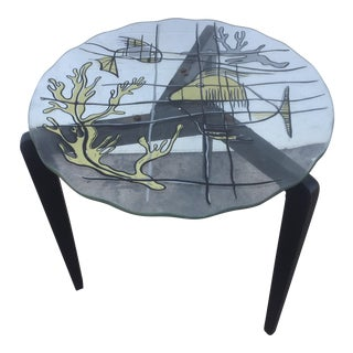 Scalloped Edge Fish Paint Decorated Table