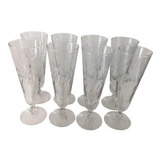 Mid-Century Fine Cut Pilsner Glasses - Set of 8
