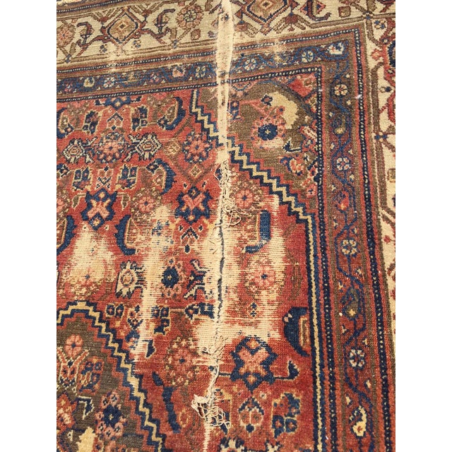 Antique Distressed Persian Rug / Wall Hanging - 4′4″ × 6′2″ - Image 6 of 10