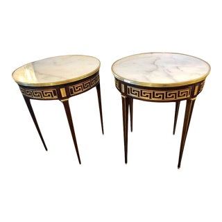 Pair of Greek Key Design Bronze Galleried Marble-Top Mahogany Bouillotte Tables