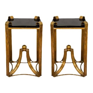 Art Deco Modern Rare Bronze Side Tables - a Pair