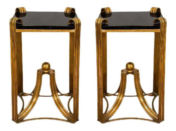 Art Deco Modern Rare Bronze Side Tables   A Pair
