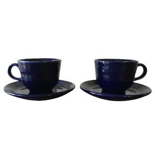 Cobalt Fiestaware Cups & Saucers - A Pair