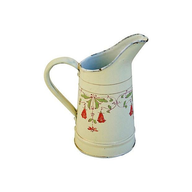 Antique 1930s French Hand-Painted White Pitcher - Image 1 of 7