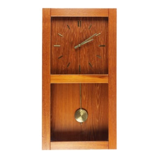 Westminster Danish Modern Teak Wall Clock