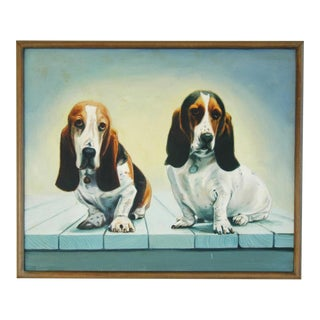 Basset Hound Dogs Oil Painting