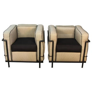 Lc2 Le Corbusier Chairs With Black Frames - A Pair