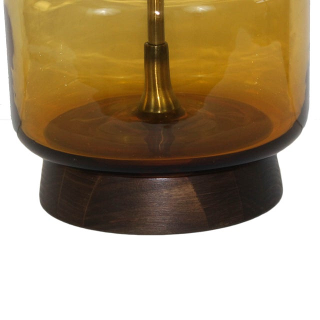 Image of Mid-Century Modern Italian Glass Walnut Lamp