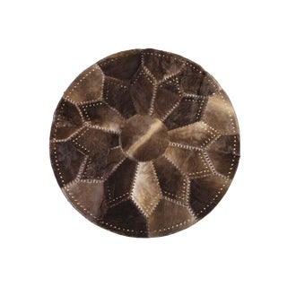 """Round Riveted Cowhide Patchwork Rug- 5'3"""" x 5'3"""""""
