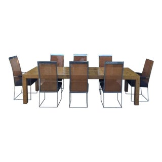 Milo Baughman Parsons Style Dining Table & Chairs - Set of 9