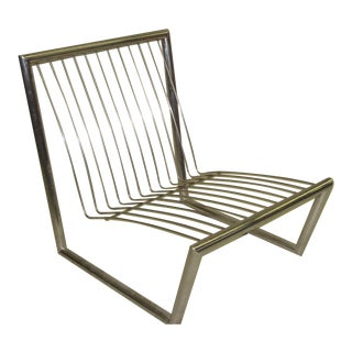 French Nickeled Steel Lounge Chair