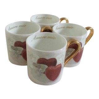 Villeroy & Boch Porcelain Heart & Wing Espresso Cups - Set of 4
