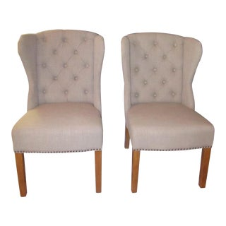"Arhaus ""Greyson"" Tufted Upholstered Dining Side Chairs - a Pair"