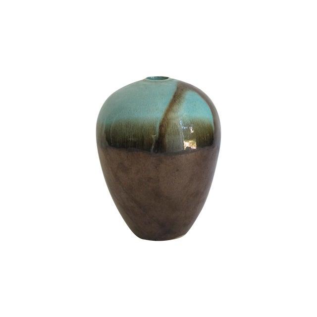 Teal & Brown Chinese Glazed Porcelain Vase - Image 1 of 6