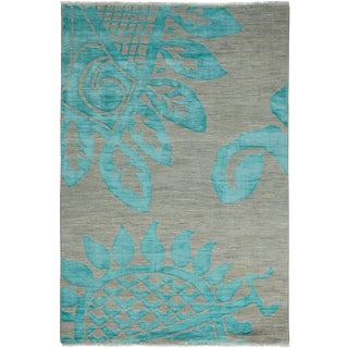 "Contemporary Hand Knotted Area Rug - 4'2"" X 6'"