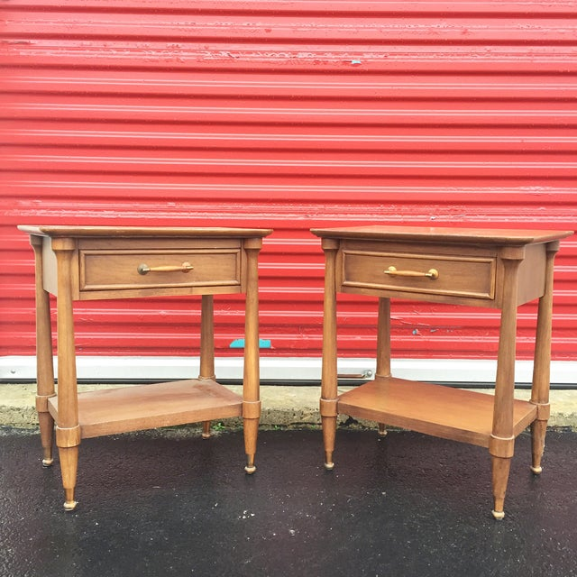 Mid-Century End Tables With Single Drawer - Pair - Image 2 of 12