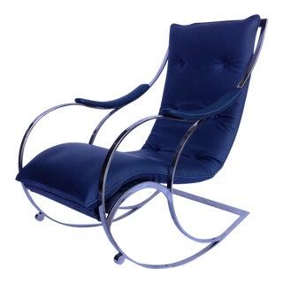 Vintage Milo Baughman Chrome Rocking Chair