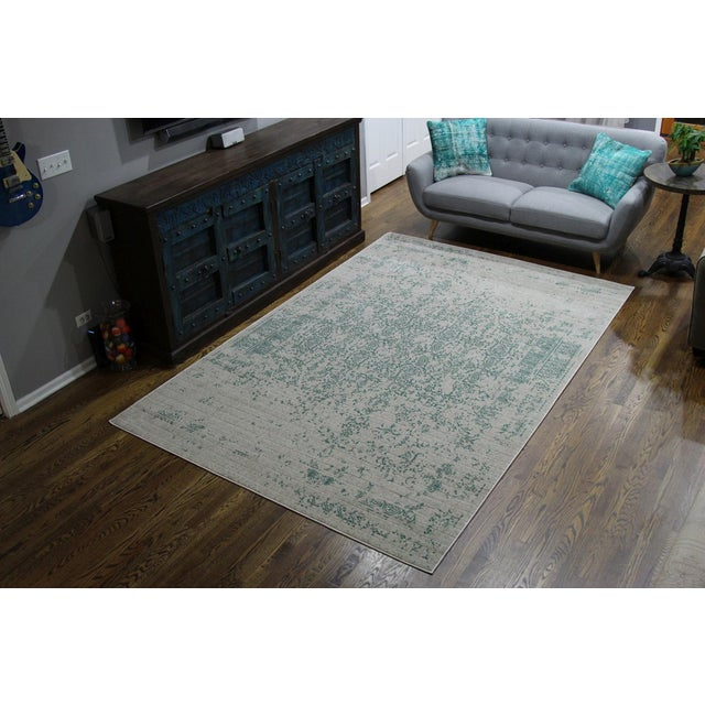 "Teal Distressed Patterned Rug - 8'x10'7"" - Image 6 of 7"