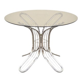 Vintage Baughman Style Mid-Century Modern Chrome Round Glass Butterfly Dining Table