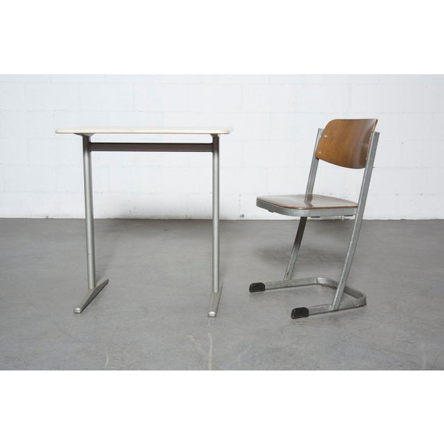 Retro Industrial School Desk and Chair Set - Image 7 of 11