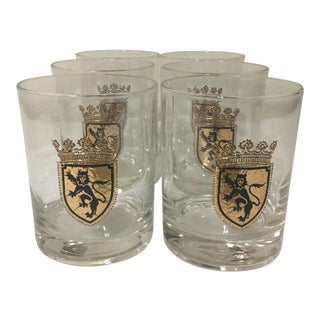 Vintage Lion Coat of Arms Double Rocks Glasses - Set of 6
