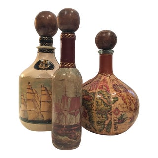 Vintage Leather Wrapped Nautical Italian Decanter Bottles - Set of 3
