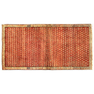 "Vintage Red & Orange Persian Rug - 3'6"" X 6'10"""