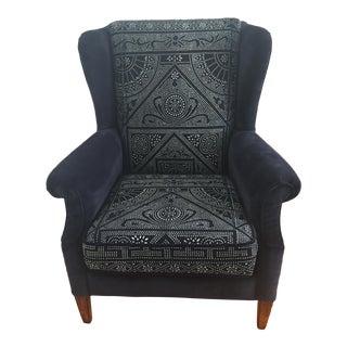 Mid-Century Wingback Chair in Indigo Batik