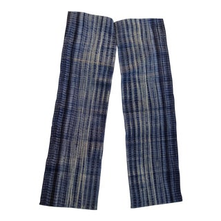 Homespun Tie Dye Indigo Doorway Drapes - A Pair