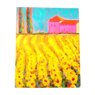 Tuscan Cypress and Sunflowers Oil Painting