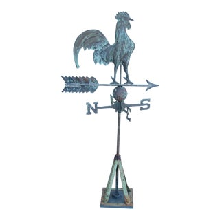 Vintage Copper Rooster Weathervane With Stand