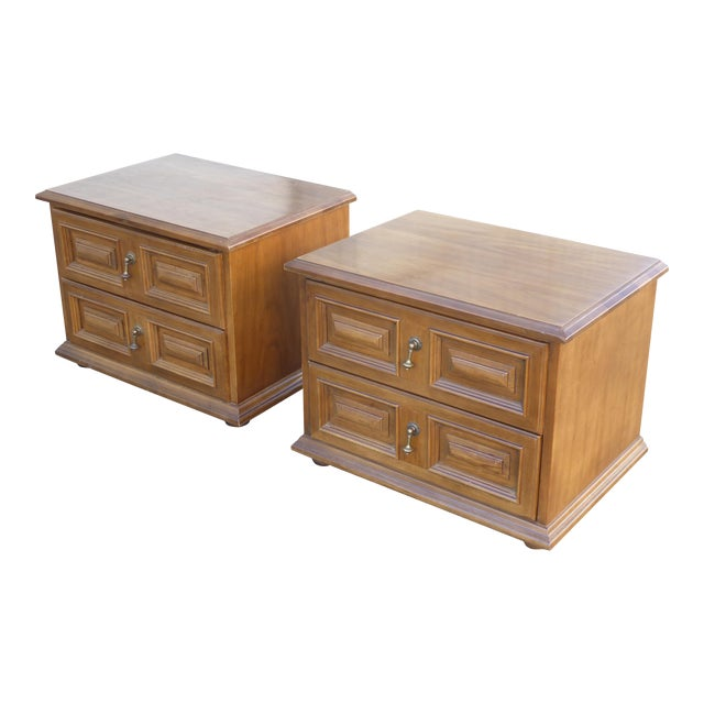Mid Century Modern Drexel Two Drawer Solid Wood Nightstands - a Pair - Image 1 of 11