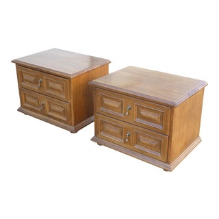 Mid Century Modern Drexel Two Drawer Solid Wood Nightstands - a Pair