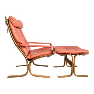 Ingmar Relling for Westnofa Siesta Chair and Ottoman Set Danish Modern in Coral Red