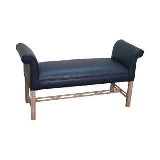 Chippendale Style Blue Leather Window Bench