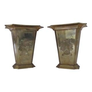 Vintage Brass Crest Vases-A Pair