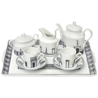 "Italian Piero Fornasetti Porcelain Rare Tea or Coffee Set Titled ""architettura"""