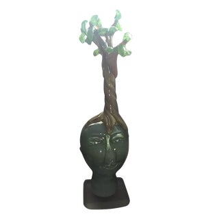"Handblown Glass Tree Head ""Summer"" Sculpture"