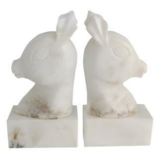 Vintage Marble Deer Head Bookends - A Pair