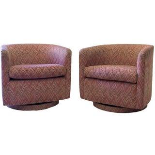 Milo Baughman Barrel-Back Swivel Chairs - A Pair