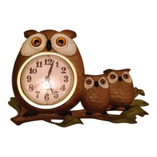 Vintage Burwood Owl Clock
