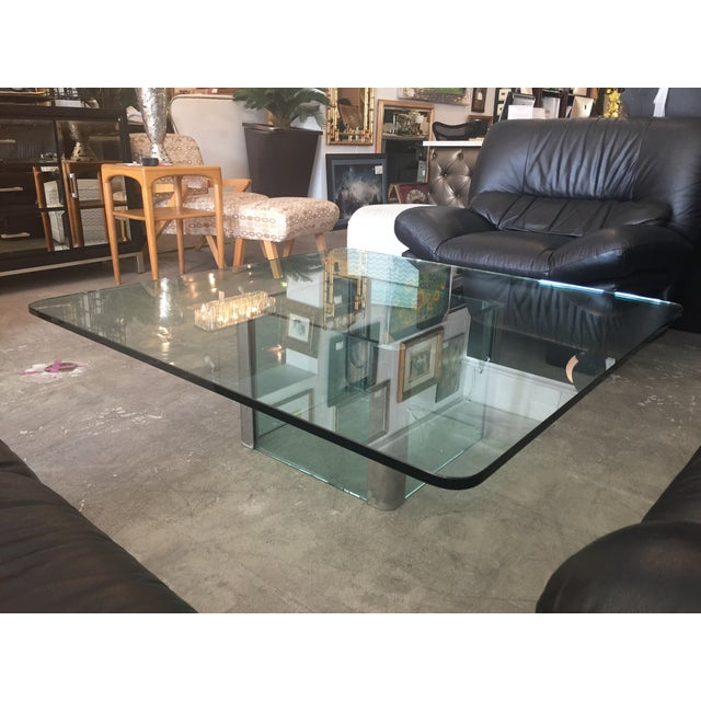 Modern Glass & Chrome Coffee Table - Image 7 of 9