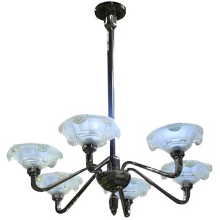 French Art Deco Opalescent Icicles Chandelier