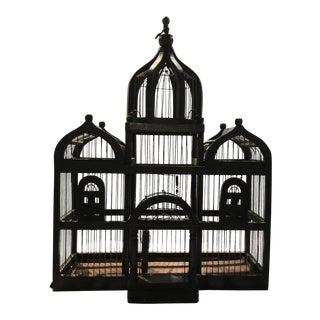 Vintage Dark Green Metal Bird Cage