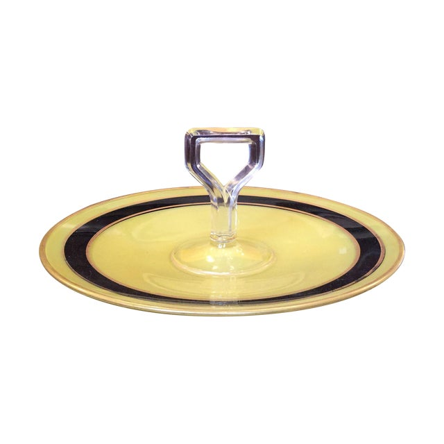 Yellow and Black Art Deco Serving Dish - Image 1 of 8