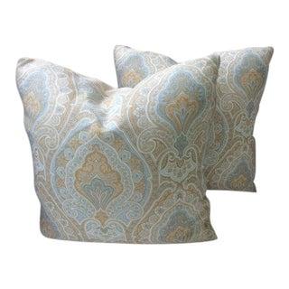 P. Kaufman Pillows in Caramel, Cream & Blue Paisley - a Pair