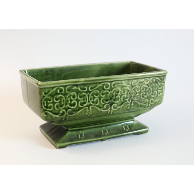 Green Floral Footed Planter