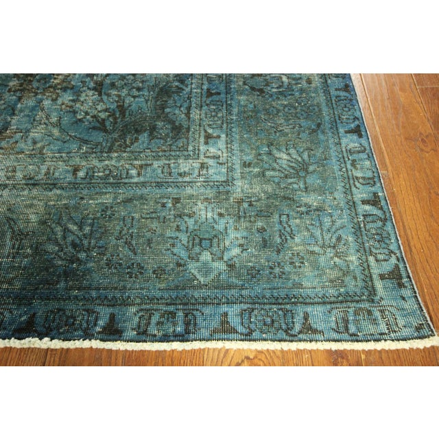 Irani Persian Blue Overdyed Wool Rug - 10'X13' - Image 5 of 8