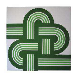"""Funky Green 1970s """"Weave"""" Framed Canvas Print"""