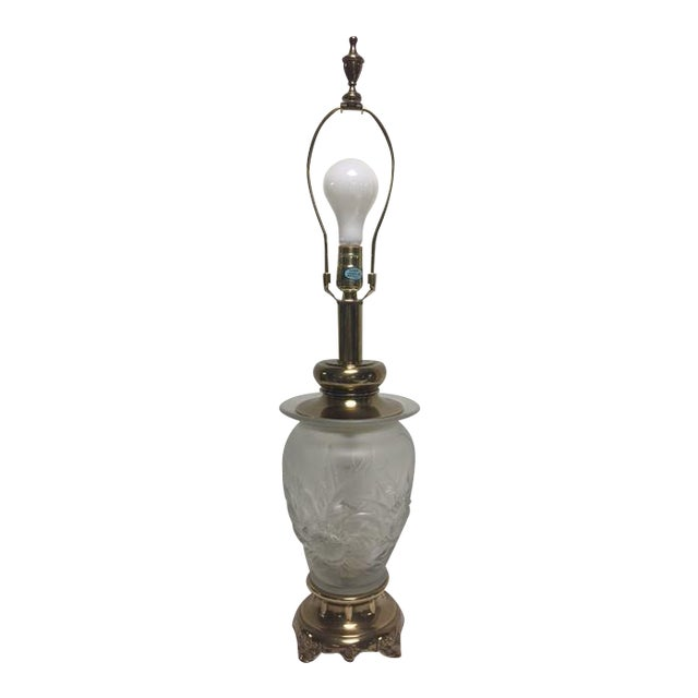 Rembrandt Frosted Glass Floral Table Lamp - Image 1 of 9